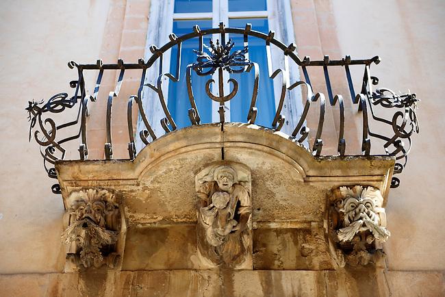 Palazzo La Rocca  balcony Baroque sculpted balcony corbels, Ragusa Ibla, Sicily
