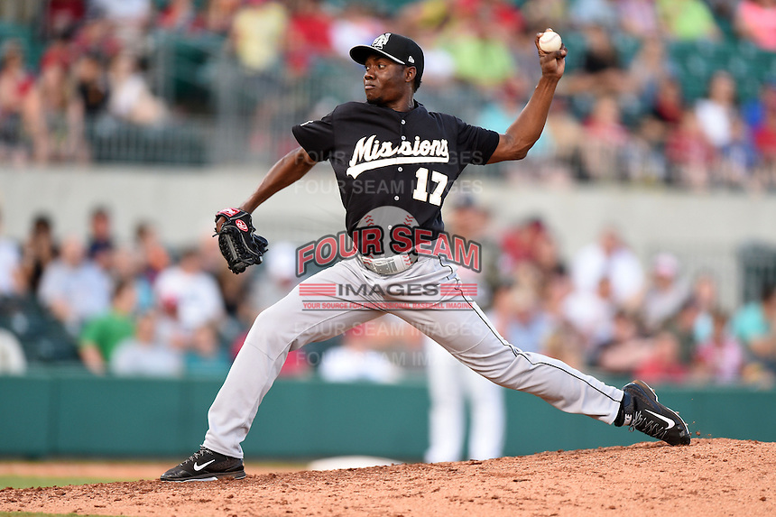 San Antonio Missions pitcher Frank Garces (17) delivers a pitch during a game against the Arkansas Travelers on May 25, 2014 at Dickey-Stephens Park in Little Rock, Arkansas.  Arkansas defeated San Antonio 3-1.  (Mike Janes/Four Seam Images)