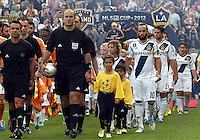CARSON, CA - DECEMBER 01, 2012:   Landon Donovan (10) of the Los Angeles Galaxy leads the team out against the Houston Dynamo during the 2012 MLS Cup at the Home Depot Center, in Carson, California on December 01, 2012. The Galaxy won 3-1.