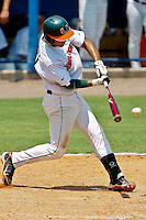 June 03, 2011:    Miami Hurricanes inf Harold Martinez (9) during NCAA Gainesville Regional action between Jacksonville Dolphins  and Miami Hurricanes played at Alfred A. McKethan Stadium on the campus of Florida University in Gainesville, Florida. Miami defeated Jacksonville 7-2. ........