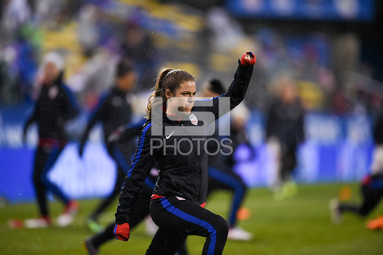 Columbus, Ohio - Thursday March 01, 2018: Kelley O'Hara during a 2018 SheBelieves Cup match between the women's national teams of the United States (USA) and Germany (GER) at MAPFRE Stadium.