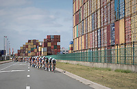 peloton racing in the Antwerp harbour<br /> <br /> 91th Schaal Sels 2016