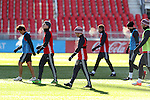 09 December 2016: The breath from Sebastian Giovinco (ITA) (center) and teammates indicates the freezing temperature in the stadium. Toronto FC held a training session one day before playing in MLS Cup 2016 at BMO Field in Toronto, Ontario in Canada.