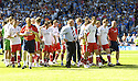 30/05/2009  Copyright  Pic : James Stewart.sct_jspa_28_rangers_v_falkirk.FALKIRK MANAGER JOHN HUGHES LEADS HIS PLAYERS TOWARD THE FANS AT THE END OF THE GAME.James Stewart Photography 19 Carronlea Drive, Falkirk. FK2 8DN      Vat Reg No. 607 6932 25.Telephone      : +44 (0)1324 570291 .Mobile              : +44 (0)7721 416997.E-mail  :  jim@jspa.co.uk.If you require further information then contact Jim Stewart on any of the numbers above.........