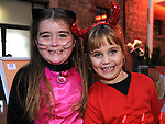 Hannah Heeney and Abbie Reid pictured at the Halloween party in Scotch Hall. Photo:Colin Bell/pressphotos.ie