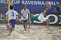 (L-R) Hirofumi Oda, Masahito Toma (JPN), Antonio Barbosa (MEX), SEPTEMBER 02, 2011 - Beach Soccer : FIFA Beach Soccer World Cup Ravenna-Italy 2011 Group D match between Japan 2-3 Mexico at Stadio del Mare, Marina di Ravenna, Italy, (Photo by Enrico Calderoni/AFLO SPORT) [0391]