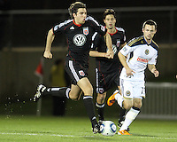 Dejan Jakevic(5) of D.C. United speeds past Kyle Nakazawa(13) of the Philadelphia Union during a play-in game for the US Open Cup tournament at Maryland Sportsplex, in Boyds, Maryland on April 6 2011. D.C. United won 3-2 after overtime penalty kicks.