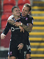Lincoln City's Billy Knott, left, celebrates scoring his side's equalising goal to make the score 1-1 with team-mate Jordan Maguire-Drew<br /> <br /> Photographer Chris Vaughan/CameraSport<br /> <br /> The Carabao Cup First Round - Rotherham United v Lincoln City - Tuesday 8th August 2017 - New York Stadium - Rotherham<br />  <br /> World Copyright &copy; 2017 CameraSport. All rights reserved. 43 Linden Ave. Countesthorpe. Leicester. England. LE8 5PG - Tel: +44 (0) 116 277 4147 - admin@camerasport.com - www.camerasport.com