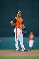 GCL Orioles shortstop Darell Hernaiz (1) during a Gulf Coast League game against the GCL Braves on August 5, 2019 at Ed Smith Stadium in Sarasota, Florida.  GCL Orioles defeated the GCL Braves 4-3 in the first game of a doubleheader.  (Mike Janes/Four Seam Images)