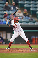 Altoona Curve shortstop Pablo Reyes (27) at bat during a game against the New Hampshire Fisher Cats on May 11, 2017 at Peoples Natural Gas Field in Altoona, Pennsylvania.  Altoona defeated New Hampshire 4-3.  (Mike Janes/Four Seam Images)