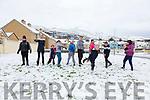 Snowball fights in Fertha Drive Cahersiveen with fun for all pictured l-r; Ki Ryan, Andreja Bernotaite, Nathan O'Connor, Alex Gibbons, Cai O'Sullivan, Rokas Balzaraivcius, Patricija Pudzemyte, Hollie Taylor, Arnas Balzaraivcius and Róisín Carroll.