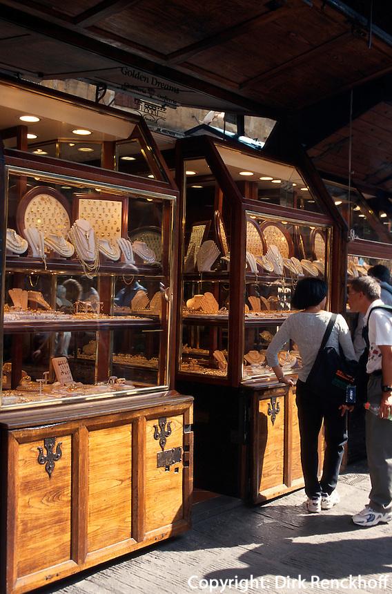 Ponte Vecchio, Goldschmiedeläden, Florenz, Toskana, Italien, Unesco-Weltkulturerbe