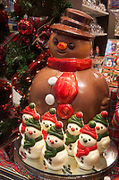Belgium, West-Flanders, Bruges: Chocolate snowmen in Chocolate shop window