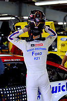 July 15, 2017 - Loudon, New Hampshire, U.S. - Ryan Blaney, Monster Energy NASCAR Cup Series driver of the Motorcraft / Quick Lane Tire & Auto Center Ford (21), dons his helmet before the NASCAR Monster Energy Overton's 301 practice round held at the New Hampshire Motor Speedway in Loudon, New Hampshire. Larson placed first in the qualifier. Eric Canha/CSM