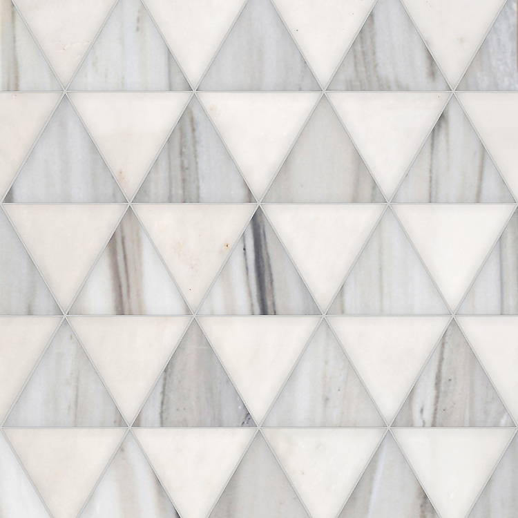 Diamont Grand, a hand-cut stone mosaic, shown in polished Afyon White and honed Horizon, is part of the Semplice® collection for New Ravenna.