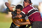 Texas Koinaki is tackled by Mika Pamaka. CMRFU Counties Power Cup Game of the Week between Te Kauwhata & Puni played at Te Kauwhata on Saturday May the 3rd, 2008..Te Kauwhata led 5 - 0 at halftime & went on to win 29 - 0.