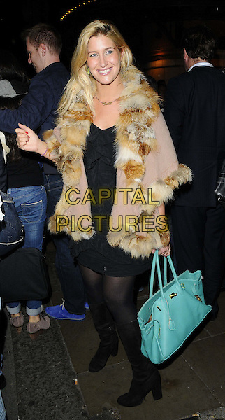 Francesca &quot;Cheska&quot; Hull<br /> The &quot;The Commitments&quot; press night, Palace Theatre, Shaftesbury Avenue, London, England.<br /> October 8th, 2013<br /> full length black dress tights beige fur jacket coat green bag purse  <br /> CAP/CAN<br /> &copy;Can Nguyen/Capital Pictures