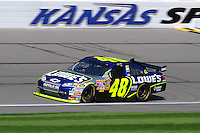 Sept. 27, 2008; Kansas City, KS, USA; Nascar Sprint Cup Series driver Jimmie Johnson during practice for the Camping World RV 400 at Kansas Speedway. Mandatory Credit: Mark J. Rebilas-