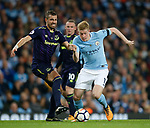 Morgan Schneiderlin of Everton  tussles with Kevin De Bruyne of Manchester City during the Premier League match at the Eithad Stadium, Manchester. Picture date 21st August 2017. Picture credit should read: Simon Bellis/Sportimage