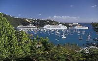 AJ2349, U.S. Virgin Islands, St. Thomas, Caribbean, cruise, U.S.V.I., USVI, Virgin Islands, Scenic view of cruise ships and pleasure boats in the harbor in Charlotte Amalie the territorial capital of the US Virgin Islands on Saint Thomas Island.