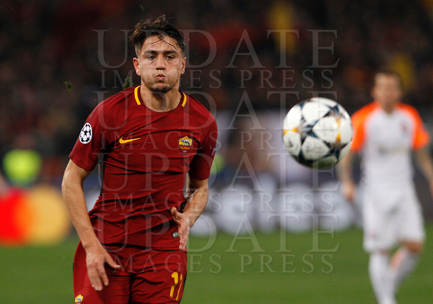 Roma s Cengiz Under in action during the Uefa Champions League round of 16 second leg soccer match between Roma and Shakhtar Donetsk at Rome's Olympic stadium, March 13, 2018. Roma won. 1-0 to join the quarter finals.<br /> UPDATE IMAGES PRESS/Riccardo De Luca