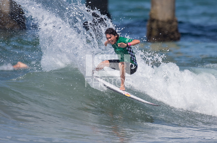 Huntington Beach, CA - Tuesday July 31, 2018: Hiroto Arai in action during a World Surf League (WSL) Qualifying Series (QS) Men's round of 96 heat at the 2018 Vans U.S. Open of Surfing on South side of the Huntington Beach pier.