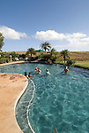 Hawaii: Molokai, The Lodge at Molokai Ranch, a major lodging with a handsome facade, swimming pool, Great Room lobby, and ranch-decor guest roooms..Photo himolo187-72337..Photo copyright Lee Foster, www.fostertravel.com, lee@fostertravel.com, 510-549-2202