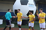 "Most valuable play of Tournament Grassroot Brian Bush (L) with All My Children's Mark Consuelos and teammates of the winning team Grassrootsoccer at the ""Kicking It"" at the Annual Tribeca/NYFEST Soccer Day Celebrity Exhibition on April 21, 2012 - NYFEST (which stands for New York Film and Entertainment Soccer Tournament) was designed to mesh the worlds of entertainment, soccer and New York City in conjunction with the Tribeca Film Festival. The day included a film and entertainment industry tournament with 44 teams with one winner the GrassrootsSoccer team which Mark Consuelos played on. Grassroots was cofounded by Survivor winner Ethan Zohn. The all-day event took place at Pier 40 in Manhattan, and consisted of an industry tournament, a youth showcase, and a celebrity soccer tournament.  (Photo by Sue Coflin/Max Photos)"