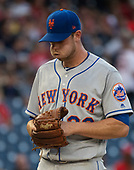 New York Mets starting pitcher Steven Matz (32) grimaces during the disastrous first inning against the Washington Nationals at Nationals Park in Washington, D.C. on Tuesday, July 31, 2018. Matz only lasted 2/3 of an inning giving up seven earned runs.<br /> Credit: Ron Sachs / CNP<br /> (RESTRICTION: NO New York or New Jersey Newspapers or newspapers within a 75 mile radius of New York City)