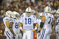 17 October 2010:  Colts QB Peyton Manning (18) in the huddle..The Indianapolis Colts defeated the Washington Redskins 27-24 at FedEx Field in Landover, MD.