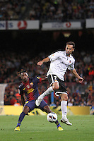 02/09/2012 - Liga Football Spain, FC Barcelona vs. Valencia CF Matchday 3 - Jonas from VAlencia CF ttries to control the ball in front of Alexander Song, new FC BArcelona player