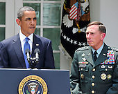 United States President Barack Obama, left, announces he is replacing General Stanley McChrystal, United States Army, Commander, International Security Assistance Force (ISAF) with General David H. Petraeus, Chief of the United States Central Command (CENTCOM), right, in Washington, D.C. on Wednesday, June 23, 2010.  .Credit: Ron Sachs / Pool via CNP