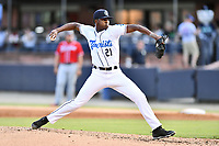 Asheville Tourists relief pitcher Raymells Rosa (21) delivers a pitch during  game against the Rome Braves at McCormick Field on August 13, 2019 in Asheville, North Carolina. The Braves defeated the Tourists 13-8. (Tony Farlow/Four Seam Images)
