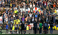 Leeds United fans cheer their side after the match<br /> <br /> Photographer Alex Dodd/CameraSport<br /> <br /> The EFL Sky Bet Championship Play-off  First Leg - Derby County v Leeds United - Thursday 9th May 2019 - Pride Park - Derby<br /> <br /> World Copyright © 2019 CameraSport. All rights reserved. 43 Linden Ave. Countesthorpe. Leicester. England. LE8 5PG - Tel: +44 (0) 116 277 4147 - admin@camerasport.com - www.camerasport.com