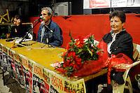 """Roma, 15 Ottobre 2010.Garbatella.Centro Sociale Occupato Autogestito La Strada.Presentazione del libro """" Una storia quasi soltanto mia"""" di Piero Scaramucci e Licia Pinelli moglie di Giuseppe Pinelli ,accusato prima della strage di piazza Fontana e poi """"morto cadendo"""" dalla finestra della questura di Milano..Rome, October 15, 2010.Garbatella.Social Centers Autogestito Road.Presentation of the book """"A story almost my only"""" by Piero Scaramucci and Licia Pinelli wife of Giuseppe Pinelli, who was accused before the Piazza Fontana bombing and then """"dropping dead"""" from the window of the police headquarters in Milan."""
