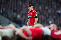 Dan Biggar of Wales watches a scrum. RBS Six Nations match between England and Wales on March 12, 2016 at Twickenham Stadium in London, England. Photo by: Patrick Khachfe / Onside Images
