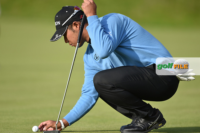 Hideki Matsuyana (JPN)  on the 18th during the finish of the second round on Saturday evening of the 144th Open Championship, St Andrews Old Course, St Andrews, Fife, Scotland. 18/07/2015.<br /> Picture: Golffile | Fran Caffrey<br /> <br /> <br /> All photo usage must carry mandatory copyright credit <br /> (&copy; Golffile | Fran Caffrey)