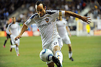 Landon Donovan (10) of the Los Angeles Galaxy. The Los Angeles Galaxy defeated the Philadelphia Union  1-0 during a Major League Soccer (MLS) match at PPL Park in Chester, PA, on October 07, 2010.