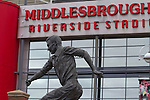 Middlesbrough 1 Preston North End 1, 22/01/2011. Riverside Stadium, Championship. A statue of former player Wilf Mannion outside Middlesbrough FC's Riverside Stadium on the day the club played host to Preston North End in an Npower Championship fixture. The match ended in a one-all draw watched by a crowd of 16,157. Middlesbrough relocated from their former home at Ayresome Park in 1995. Photo by Colin McPherson.