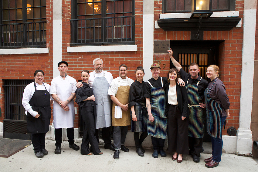 NEW YORK, NY - April 21, 2017:  Chefs John Gorham and Kasey Mills of Portland, Oregon's Toro Bravo restaurant group present a culinary tour around the Mediterranean at the James Beard House.<br /> <br /> Credit: Clay Williams for The James Beard Foundation<br /> <br /> &copy; Clay Williams / http://claywilliamsphoto.com