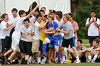 Joseph Schmid (12) of the Academy Select Team celebrates scoring. The US U-17 Men's National Team defeated the Development Academy Select Team 5-3 during day two of the US Soccer Development Academy  Spring Showcase in Sarasota, FL, on May 23, 2009.