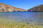 Shoreline clear blue sea water, Mgarr ix-Xini coastal inlet, island of Gozo, Malta