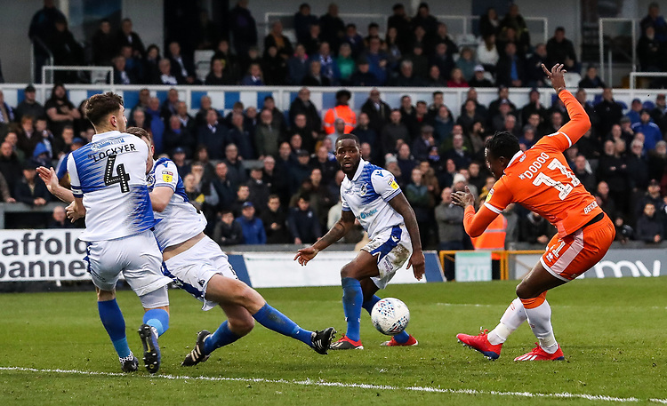 Blackpool's Joe Dodoo shoots at goal <br /> <br /> Photographer Andrew Kearns/CameraSport<br /> <br /> The EFL Sky Bet League Two - Bristol Rovers v Blackpool - Saturday 2nd March 2019 - Memorial Stadium - Bristol<br /> <br /> World Copyright © 2019 CameraSport. All rights reserved. 43 Linden Ave. Countesthorpe. Leicester. England. LE8 5PG - Tel: +44 (0) 116 277 4147 - admin@camerasport.com - www.camerasport.com