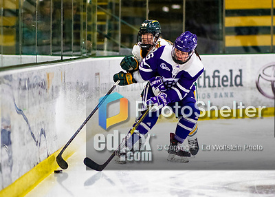 2 February 2020: Holy Cross Crusader Forward Katie MacCuaig, a Junior from Massena, NY, in first period action against the University of Vermont Catamounts at Gutterson Fieldhouse in Burlington, Vermont. The Lady Cats rallied in the 3rd period to tie the Crusaders 2-2 in NCAA Women's Hockey East play. Mandatory Credit: Ed Wolfstein Photo *** RAW (NEF) Image File Available ***