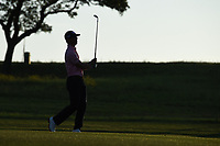 Billy Horschel (USA) is silhouetted by the early Friday morning sunrise as he watches his approach shot on 10 during day 2 of the Valero Texas Open, at the TPC San Antonio Oaks Course, San Antonio, Texas, USA. 4/5/2019.<br /> Picture: Golffile | Ken Murray<br /> <br /> <br /> All photo usage must carry mandatory copyright credit (© Golffile | Ken Murray)