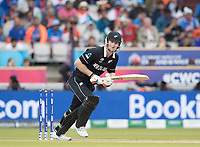 James Neesham (New Zealand) pushes into the on side for a single during India vs New Zealand, ICC World Cup Semi-Final Cricket at Old Trafford on 9th July 2019