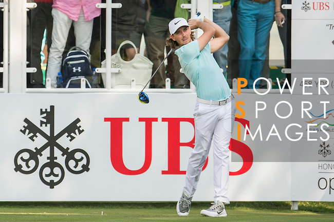 Tommy Fleetwood of England tees off the first hole during the 58th UBS Hong Kong Golf Open as part of the European Tour on 10 December 2016, at the Hong Kong Golf Club, Fanling, Hong Kong, China. Photo by Marcio Rodrigo Machado / Power Sport Images