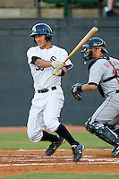 Tyler Saladino #39 of the Bristol White Sox follows through on his swing against the Greeneville Astros at Boyce Cox Field July 1, 2010, in Bristol, Tennessee.  Photo by Brian Westerholt / Four Seam Images