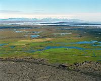 Efri-Fljótar og Syðri-Steinsmýri séð austur, Leiðvallahreppur /.Efri-Fljotar amd Sydri-Steinsmyri videwing east, Leidvallahreppur.