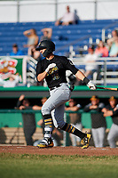West Virginia Black Bears shortstop Robbie Glendinning (16) grounds out during a game against the Batavia Muckdogs on June 19, 2018 at Dwyer Stadium in Batavia, New York.  West Virginia defeated Batavia 7-6.  (Mike Janes/Four Seam Images)